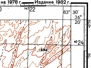 Reduced fragment of topographic map ru--gs--100k--j44-143--N036-20_E083-00--N036-00_E083-30