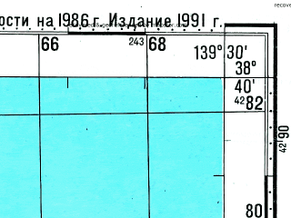 Reduced fragment of topographic map ru--gs--100k--j54-051--N038-40_E139-00--N038-20_E139-30; towns and cities Wakikawa