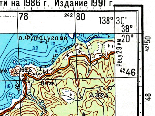 Reduced fragment of topographic map ru--gs--100k--j54-061--N038-20_E138-00--N038-00_E138-30; towns and cities Ryotsu