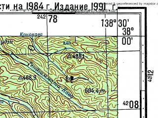 Reduced fragment of topographic map ru--gs--100k--j54-073--N038-00_E138-00--N037-40_E138-30