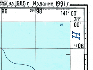 Reduced fragment of topographic map ru--gs--100k--j54-078--N038-00_E140-30--N037-40_E141-00; towns and cities Kaita