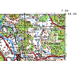 Reduced fragment of topographic map ru--gs--100k--k32-014--N043-40_E006-30--N043-20_E007-00 in area of Lac De St. Cassien