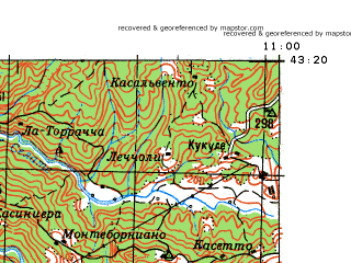 Reduced fragment of topographic map ru--gs--100k--k32-034--N043-20_E010-30--N043-00_E011-00; towns and cities Cecina, Massa Marittima, San Vincenzo