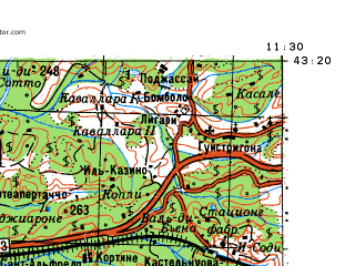 Reduced fragment of topographic map ru--gs--100k--k32-035--N043-20_E011-00--N043-00_E011-30; towns and cities Siena