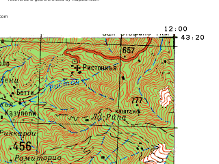 Reduced fragment of topographic map ru--gs--100k--k32-036--N043-20_E011-30--N043-00_E012-00 in area of Lago Di Chiusi; towns and cities Chiusi, Sinalunga