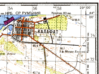 Reduced fragment of topographic map ru--gs--100k--k34-010--N044-00_E022-30--N043-40_E023-00; towns and cities Vidin, Calafat, Kula