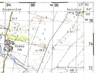 Reduced fragment of topographic map ru--gs--100k--k34-011--N044-00_E023-00--N043-40_E023-30; towns and cities Lom, Vulchedrum