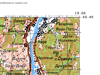 Reduced fragment of topographic map ru--gs--100k--k34-014--N043-40_E018-30--N043-20_E019-00; towns and cities Foca