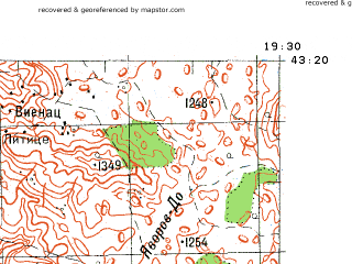 Reduced fragment of topographic map ru--gs--100k--k34-027--N043-20_E019-00--N043-00_E019-30