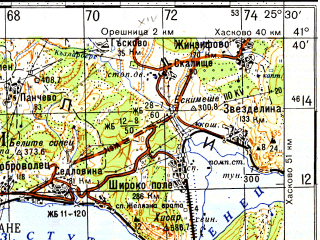 Reduced fragment of topographic map ru--gs--100k--k35-087--N041-40_E025-00--N041-20_E025-30; towns and cities Kurdzhali, Ardino, Momchilgrad, Zlatograd