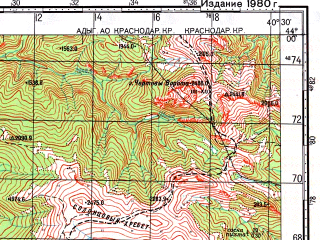 Reduced fragment of topographic map ru--gs--100k--k37-009--N044-00_E040-00--N043-40_E040-30; towns and cities Krasnaya Polyana