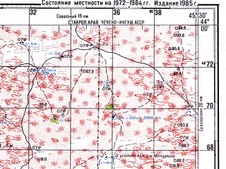 Reduced fragment of topographic map ru--gs--100k--k38-007--N044-00_E045-00--N043-40_E045-30; towns and cities Alpatovo, Ishcherskaya