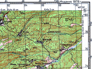Reduced fragment of topographic map ru--gs--100k--k39-097--N041-20_E048-00--N041-00_E048-30; towns and cities Syukhyub