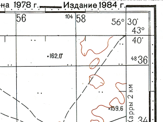 Reduced fragment of topographic map ru--gs--100k--k40-017--N043-40_E056-00--N043-20_E056-30