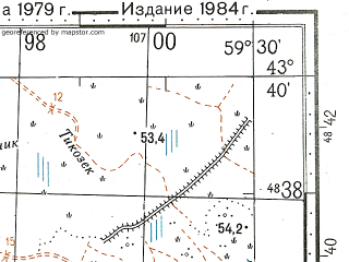 Reduced fragment of topographic map ru--gs--100k--k40-023--N043-40_E059-00--N043-20_E059-30; towns and cities Maypost