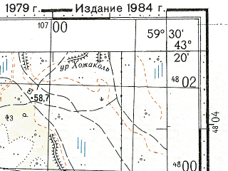 Reduced fragment of topographic map ru--gs--100k--k40-035--N043-20_E059-00--N043-00_E059-30; towns and cities Sayat
