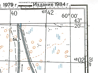 Reduced fragment of topographic map ru--gs--100k--k40-036--N043-20_E059-30--N043-00_E060-00; towns and cities Shakhaman