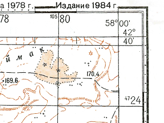 Reduced fragment of topographic map ru--gs--100k--k40-056--N042-40_E057-30--N042-20_E058-00
