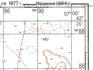 Reduced fragment of topographic map ru--gs--100k--k40-066--N042-20_E056-30--N042-00_E057-00