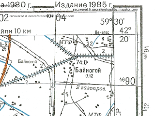 Reduced fragment of topographic map ru--gs--100k--k40-071--N042-20_E059-00--N042-00_E059-30; towns and cities Kunya-urgench