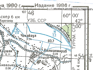 Reduced fragment of topographic map ru--gs--100k--k40-084--N042-00_E059-30--N041-40_E060-00; towns and cities Tashauz, Il'yaly, Moskva