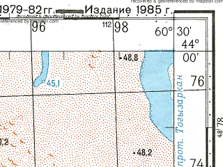 Reduced fragment of topographic map ru--gs--100k--k41-001--N044-00_E060-00--N043-40_E060-30
