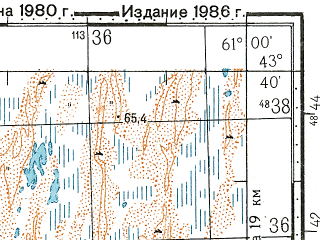 Reduced fragment of topographic map ru--gs--100k--k41-014--N043-40_E060-30--N043-20_E061-00