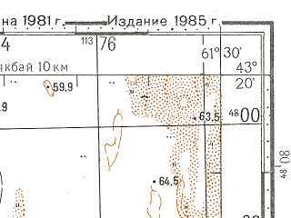 Reduced fragment of topographic map ru--gs--100k--k41-027--N043-20_E061-00--N043-00_E061-30
