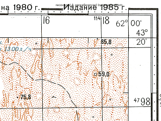 Reduced fragment of topographic map ru--gs--100k--k41-028--N043-20_E061-30--N043-00_E062-00