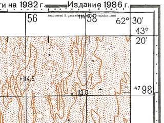 Reduced fragment of topographic map ru--gs--100k--k41-029--N043-20_E062-00--N043-00_E062-30