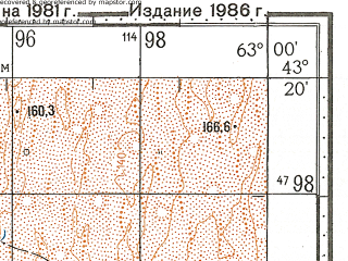 Reduced fragment of topographic map ru--gs--100k--k41-030--N043-20_E062-30--N043-00_E063-00