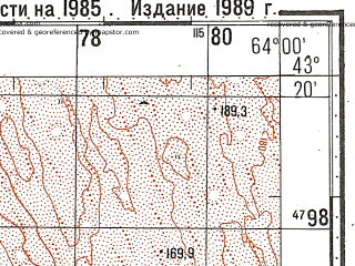 Reduced fragment of topographic map ru--gs--100k--k41-032--N043-20_E063-30--N043-00_E064-00