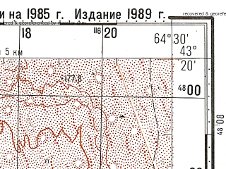 Reduced fragment of topographic map ru--gs--100k--k41-033--N043-20_E064-00--N043-00_E064-30