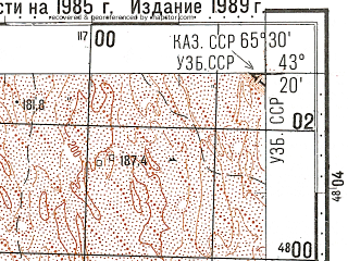 Reduced fragment of topographic map ru--gs--100k--k41-035--N043-20_E065-00--N043-00_E065-30