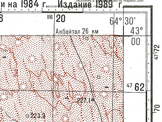 Reduced fragment of topographic map ru--gs--100k--k41-045--N043-00_E064-00--N042-40_E064-30