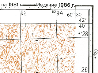 Reduced fragment of topographic map ru--gs--100k--k41-049--N042-40_E060-00--N042-20_E060-30