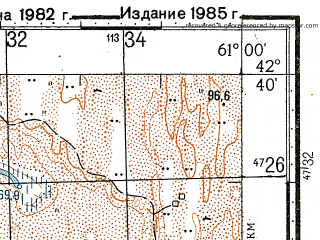 Reduced fragment of topographic map ru--gs--100k--k41-050--N042-40_E060-30--N042-20_E061-00