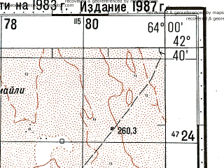 Reduced fragment of topographic map ru--gs--100k--k41-056--N042-40_E063-30--N042-20_E064-00