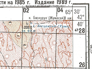 Reduced fragment of topographic map ru--gs--100k--k41-059--N042-40_E065-00--N042-20_E065-30
