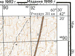 Reduced fragment of topographic map ru--gs--100k--k41-061--N042-20_E060-00--N042-00_E060-30; towns and cities Mangit, Karatau, Kipchak