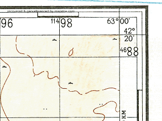 Reduced fragment of topographic map ru--gs--100k--k41-066--N042-20_E062-30--N042-00_E063-00; towns and cities Mingbulak