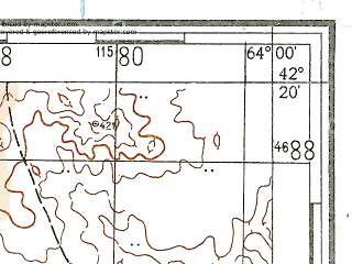 Reduced fragment of topographic map ru--gs--100k--k41-068--N042-20_E063-30--N042-00_E064-00; towns and cities Uchkuduk