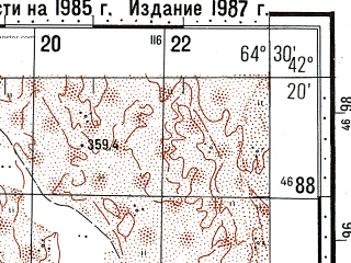 Reduced fragment of topographic map ru--gs--100k--k41-069--N042-20_E064-00--N042-00_E064-30