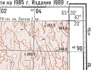 Reduced fragment of topographic map ru--gs--100k--k41-071--N042-20_E065-00--N042-00_E065-30