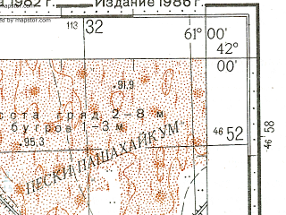 Reduced fragment of topographic map ru--gs--100k--k41-074--N042-00_E060-30--N041-40_E061-00; towns and cities Biruni, Yangibazar, Kalandarkhana