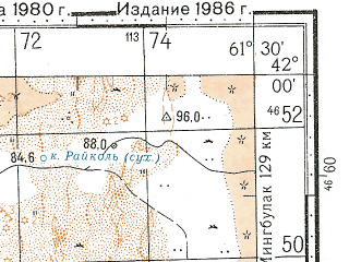 Reduced fragment of topographic map ru--gs--100k--k41-075--N042-00_E061-00--N041-40_E061-30; towns and cities Imeni Maksima Gorkogo
