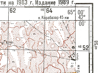 Reduced fragment of topographic map ru--gs--100k--k41-082--N042-00_E064-30--N041-40_E065-00; towns and cities Mullalykuduk, Tamdybulak