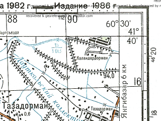 Reduced fragment of topographic map ru--gs--100k--k41-085--N041-40_E060-00--N041-20_E060-30; towns and cities Khiva, Koshkupyr