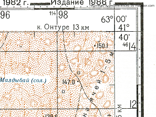 Reduced fragment of topographic map ru--gs--100k--k41-090--N041-40_E062-30--N041-20_E063-00