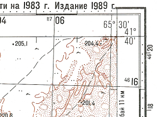 Reduced fragment of topographic map ru--gs--100k--k41-095--N041-40_E065-00--N041-20_E065-30